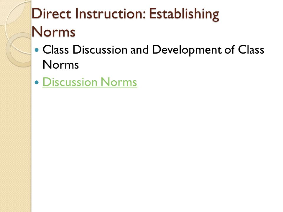 Direct Instruction: Establishing Norms