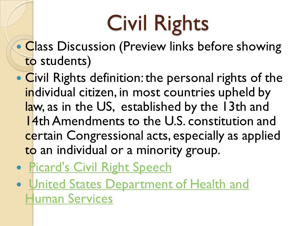 Civil Rights Class Discussion (Preview links before showing to students)