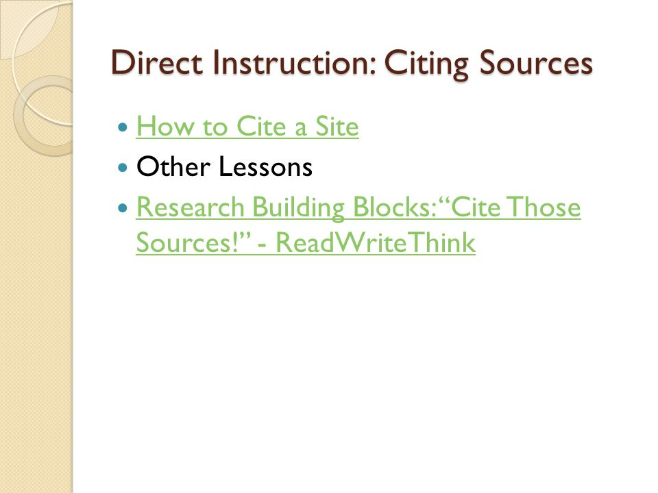 Direct Instruction: Citing Sources