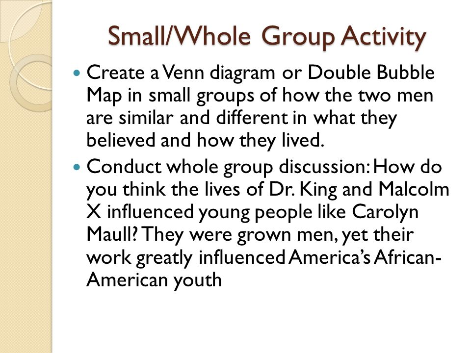 Small/Whole Group Activity