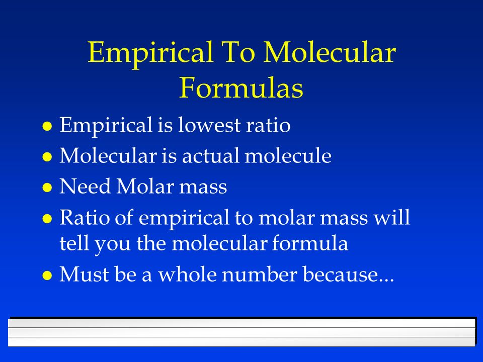 Empirical To Molecular Formulas