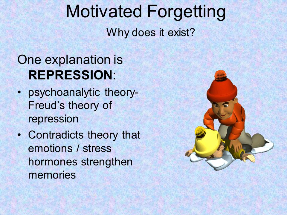 Motivated Forgetting One explanation is REPRESSION: Why does it exist