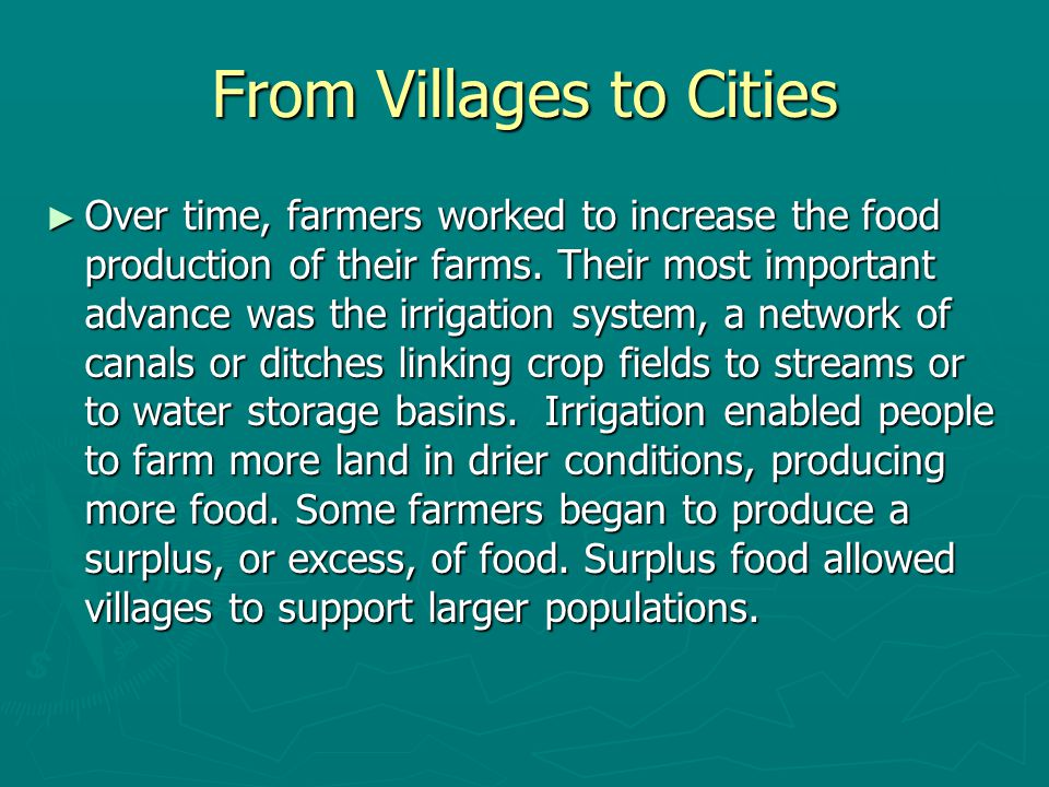 From Villages to Cities