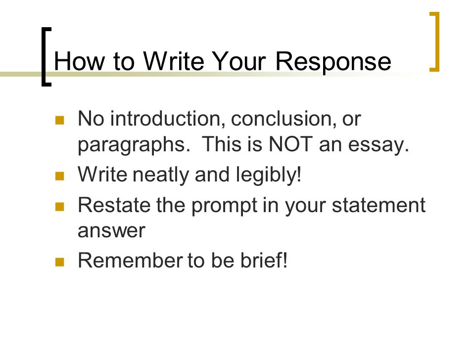 How to Write Your Response