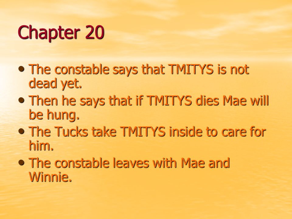 Chapter 20 The constable says that TMITYS is not dead yet.