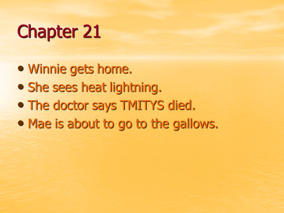 Chapter 21 Winnie gets home. She sees heat lightning.