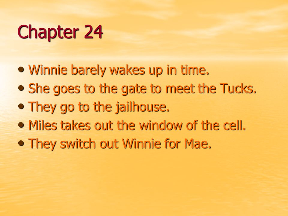 Chapter 24 Winnie barely wakes up in time.