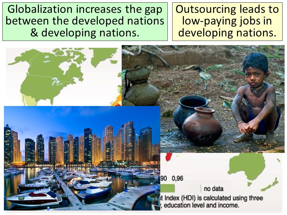Outsourcing leads to low-paying jobs in developing nations.