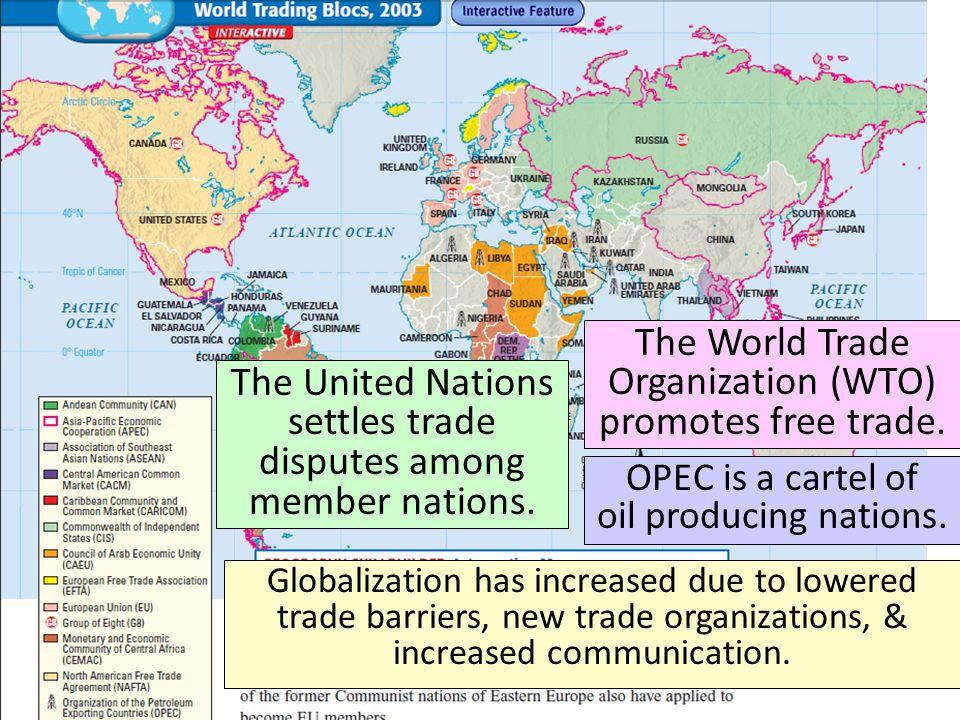 The World Trade Organization (WTO) promotes free trade.