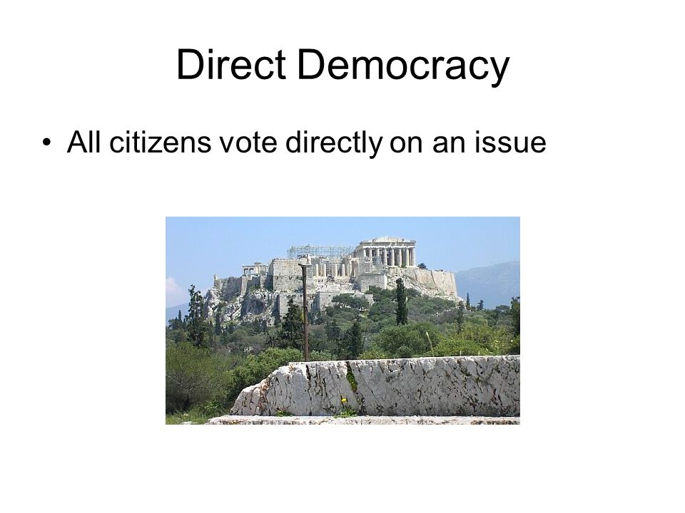 Direct Democracy All citizens vote directly on an issue