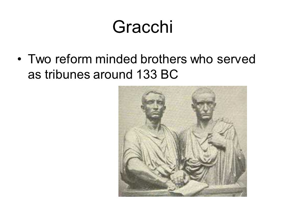 Gracchi Two reform minded brothers who served as tribunes around 133 BC