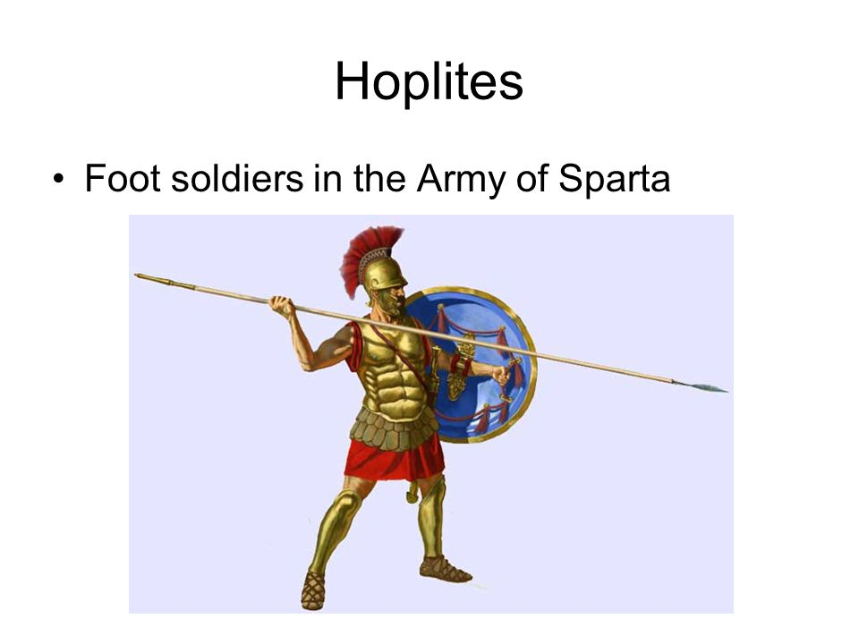 Hoplites Foot soldiers in the Army of Sparta