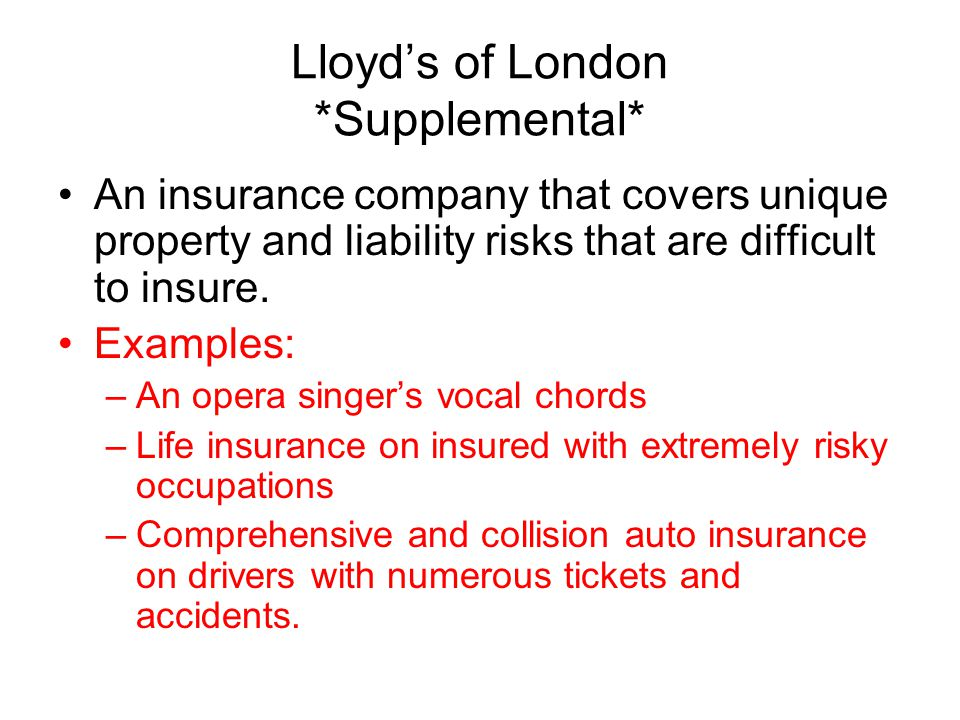 Lloyd's of London *Supplemental*