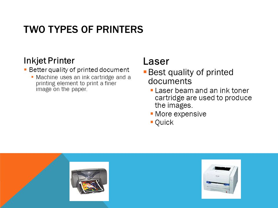 TWO Types of Printers Laser Inkjet Printer