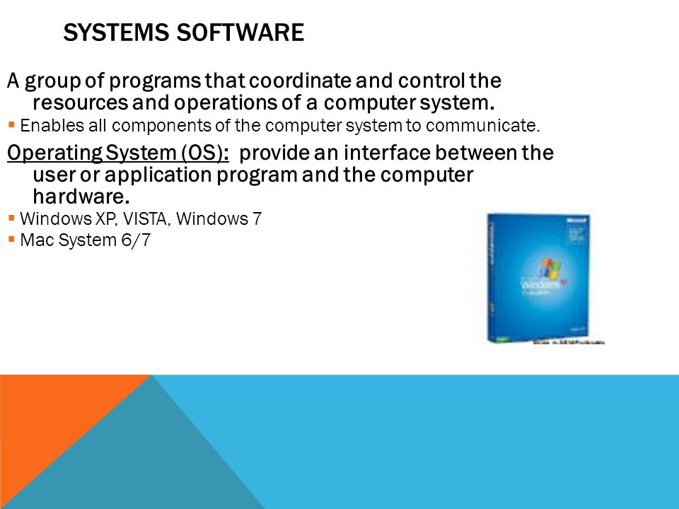 Systems Software A group of programs that coordinate and control the resources and operations of a computer system.