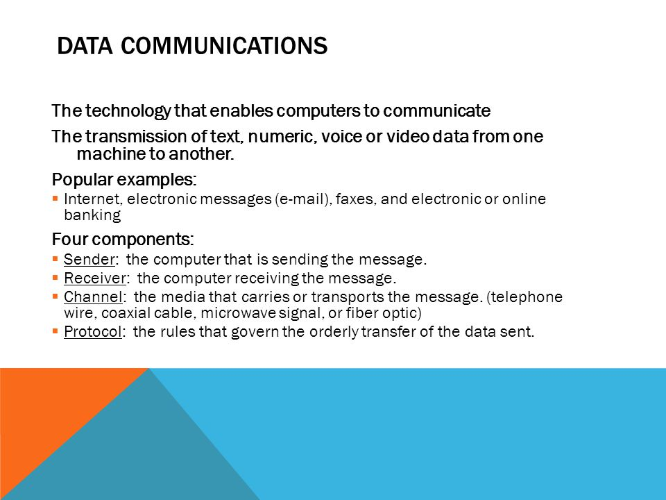 Data Communications The technology that enables computers to communicate.