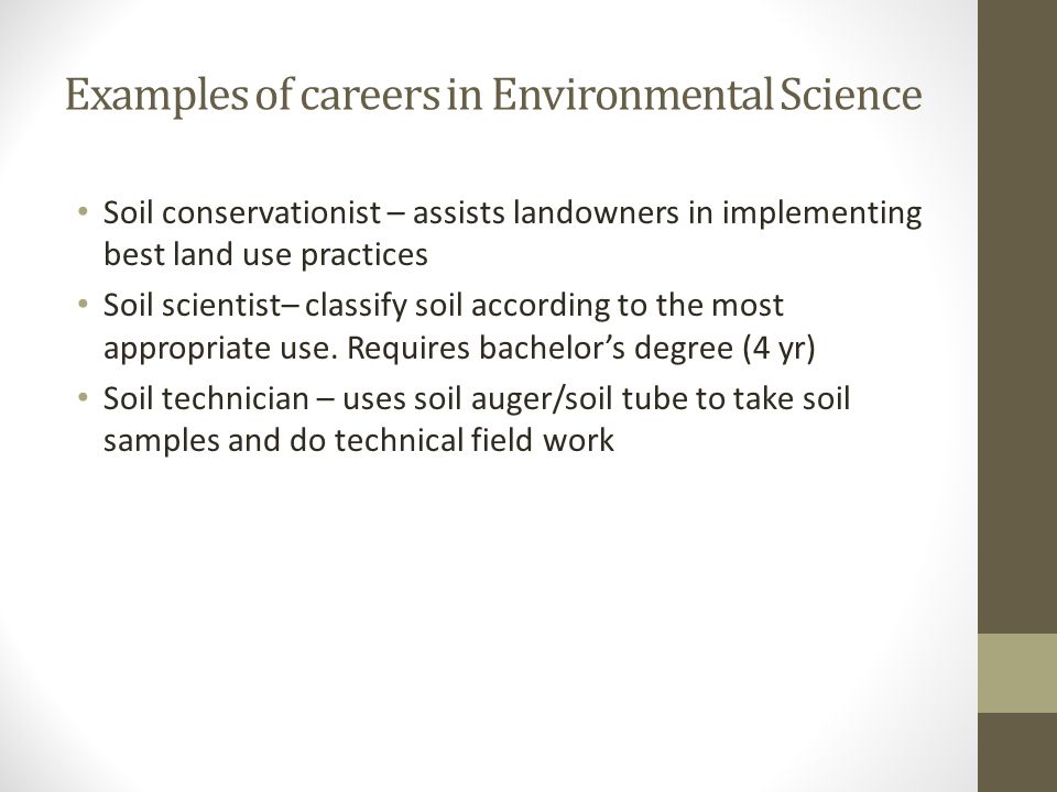Examples of careers in Environmental Science