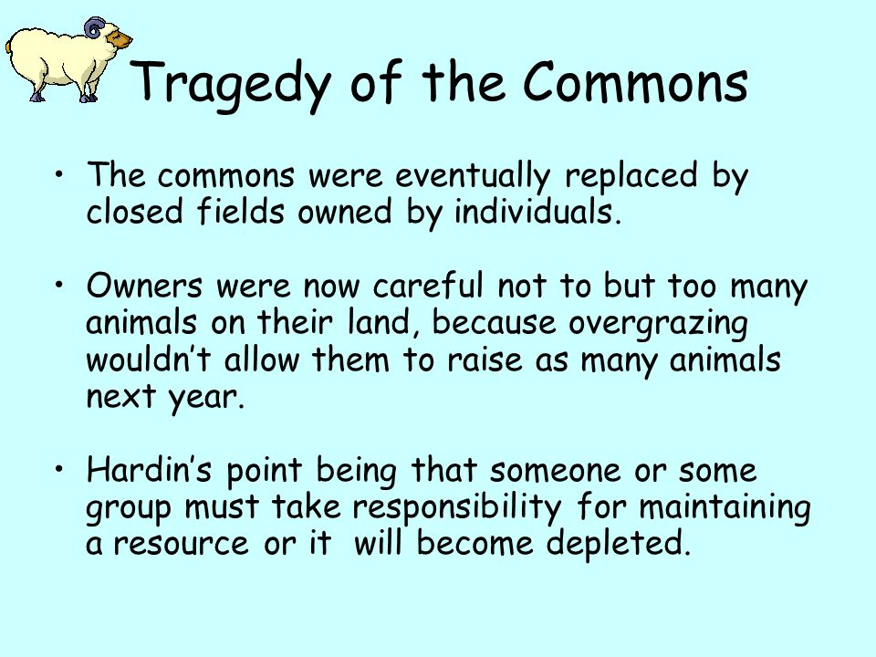 Tragedy of the Commons The commons were eventually replaced by closed fields owned by individuals.