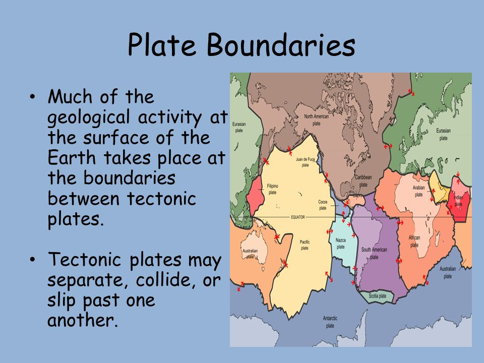 Plate Boundaries Much of the geological activity at the surface of the Earth takes place at the boundaries between tectonic plates.