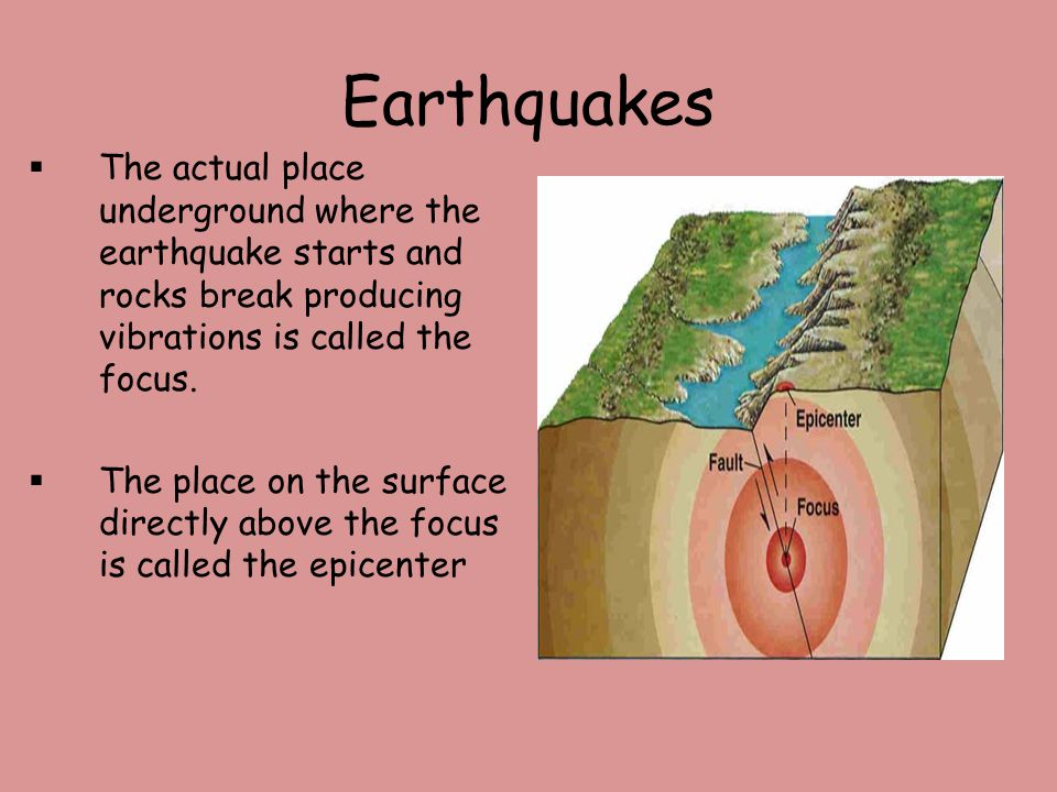 Earthquakes The actual place underground where the earthquake starts and rocks break producing vibrations is called the focus.