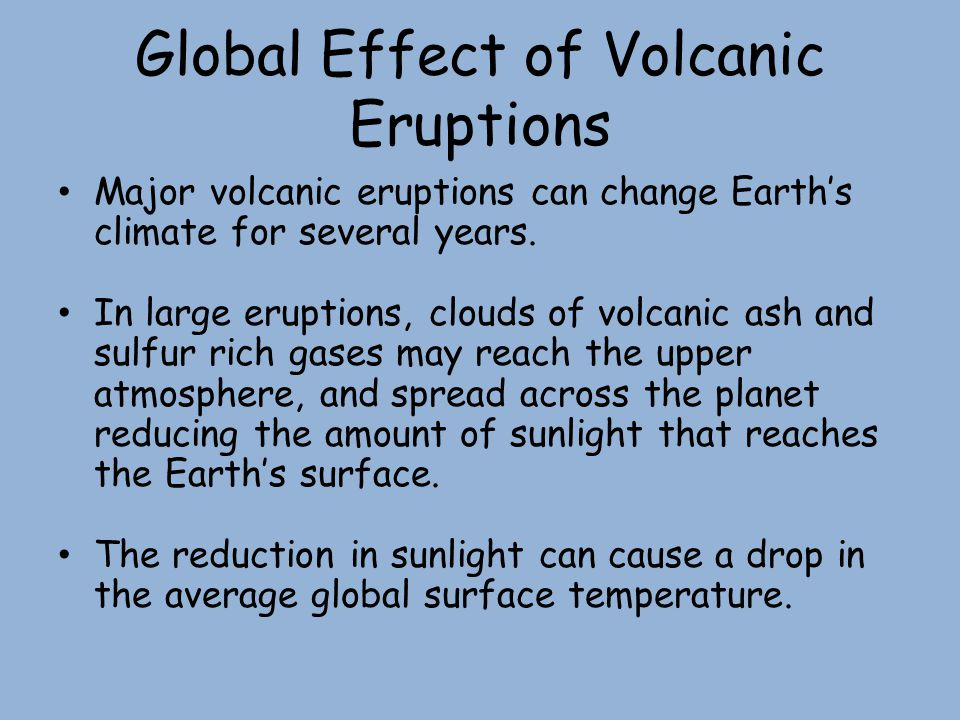 Global Effect of Volcanic Eruptions