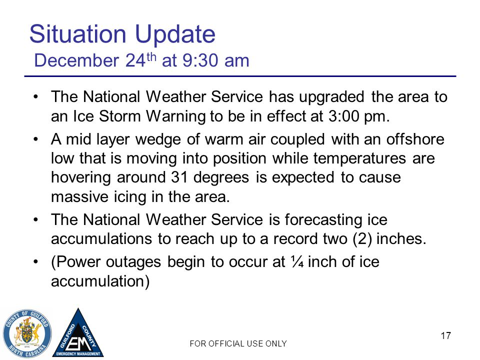 Situation Update December 24th at 9:30 am