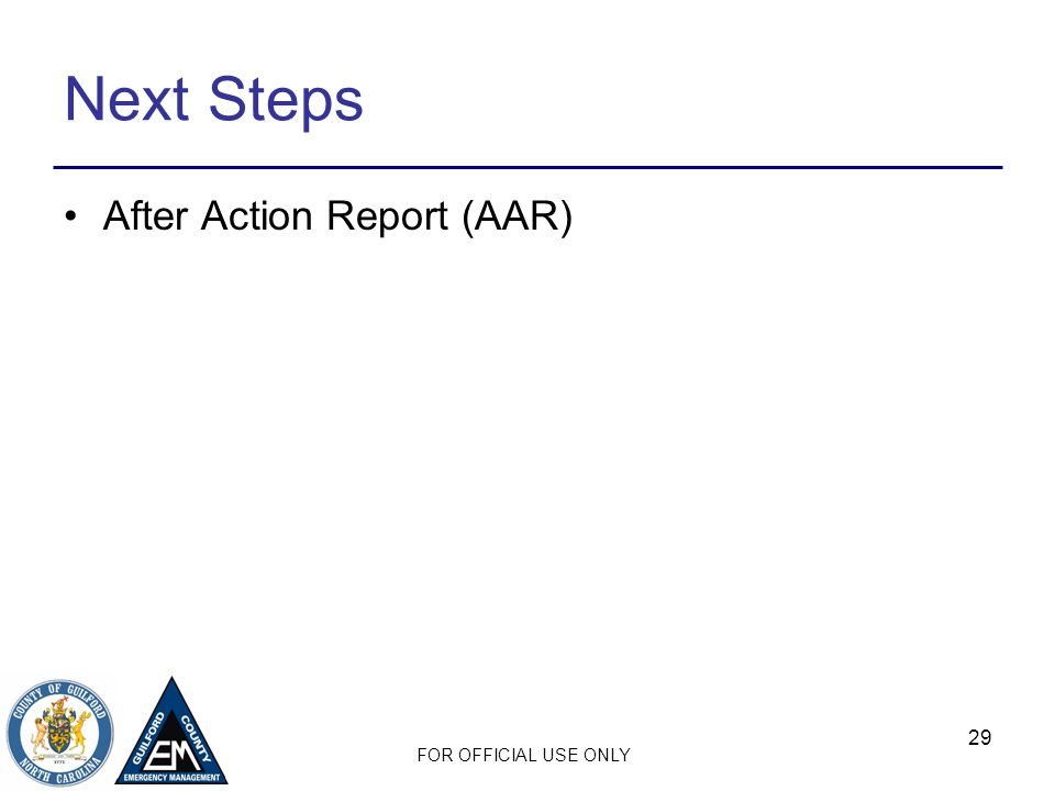 Next Steps After Action Report (AAR)