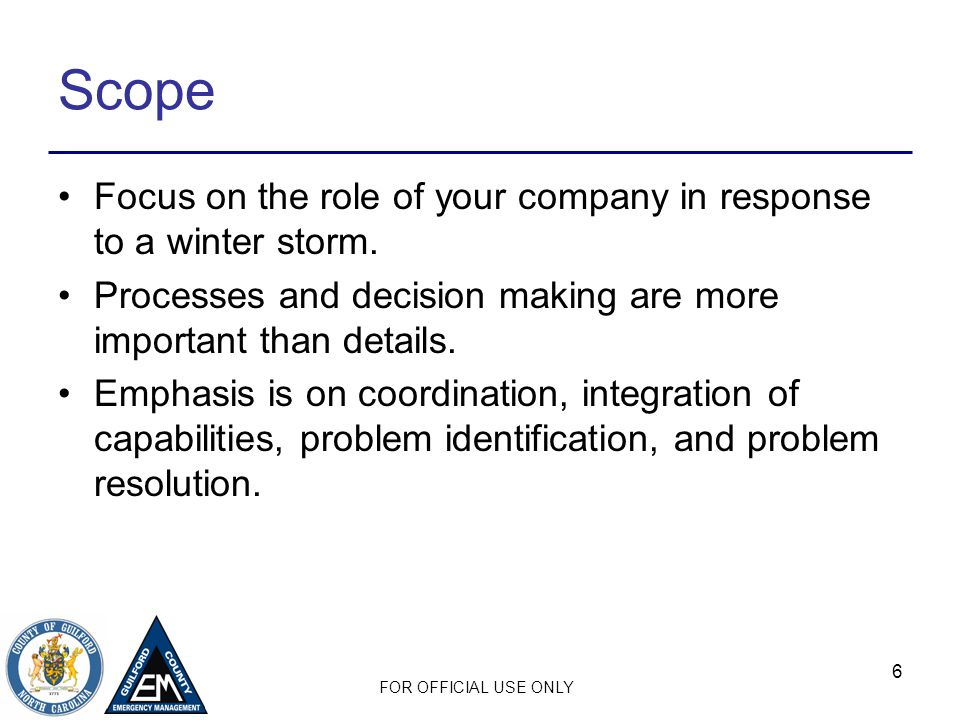 Scope Focus on the role of your company in response to a winter storm.