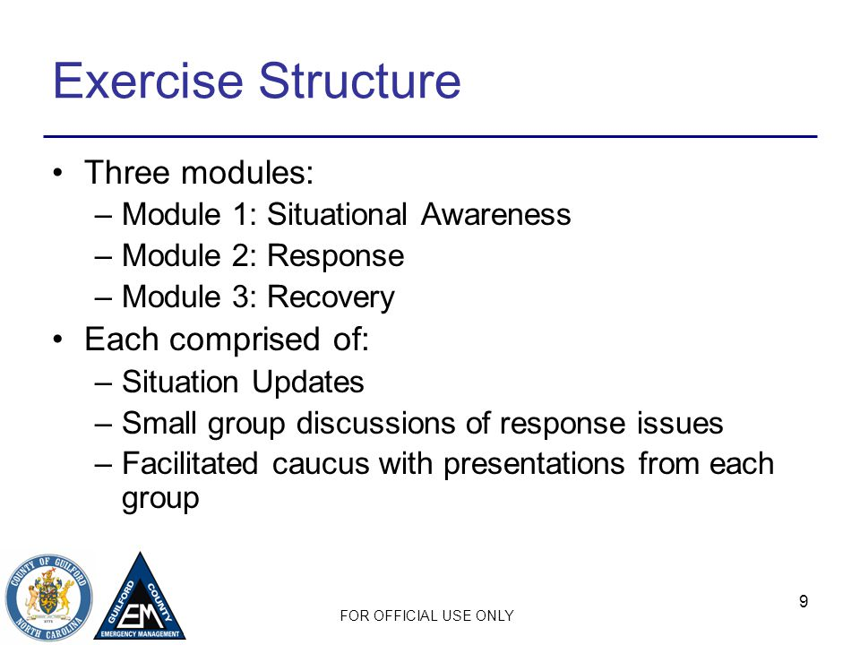 Exercise Structure Three modules: Each comprised of: