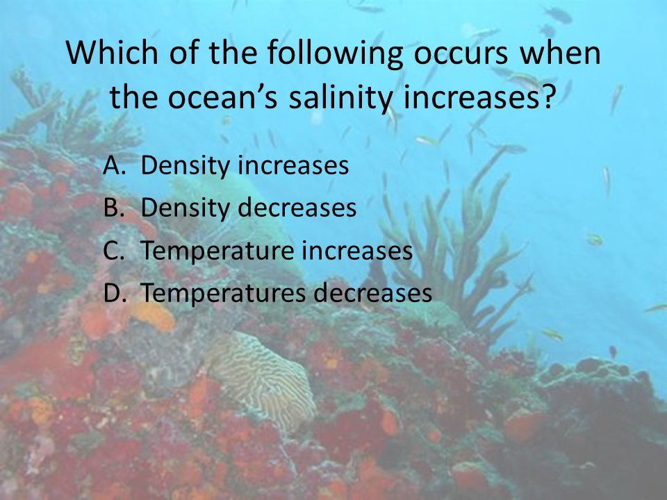 Which of the following occurs when the ocean's salinity increases