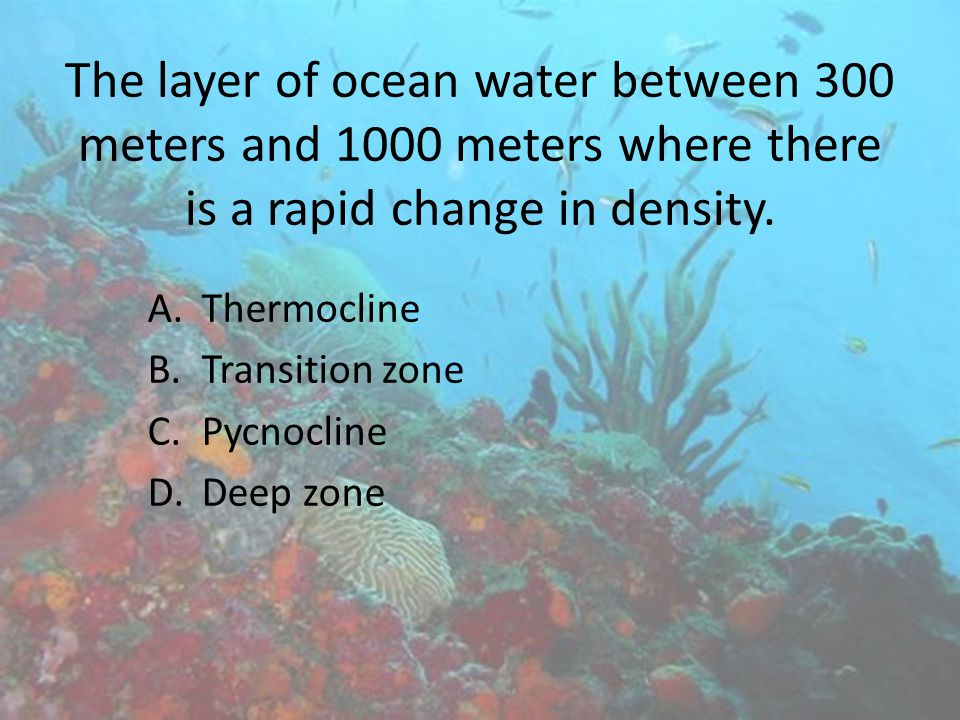 The layer of ocean water between 300 meters and 1000 meters where there is a rapid change in density.