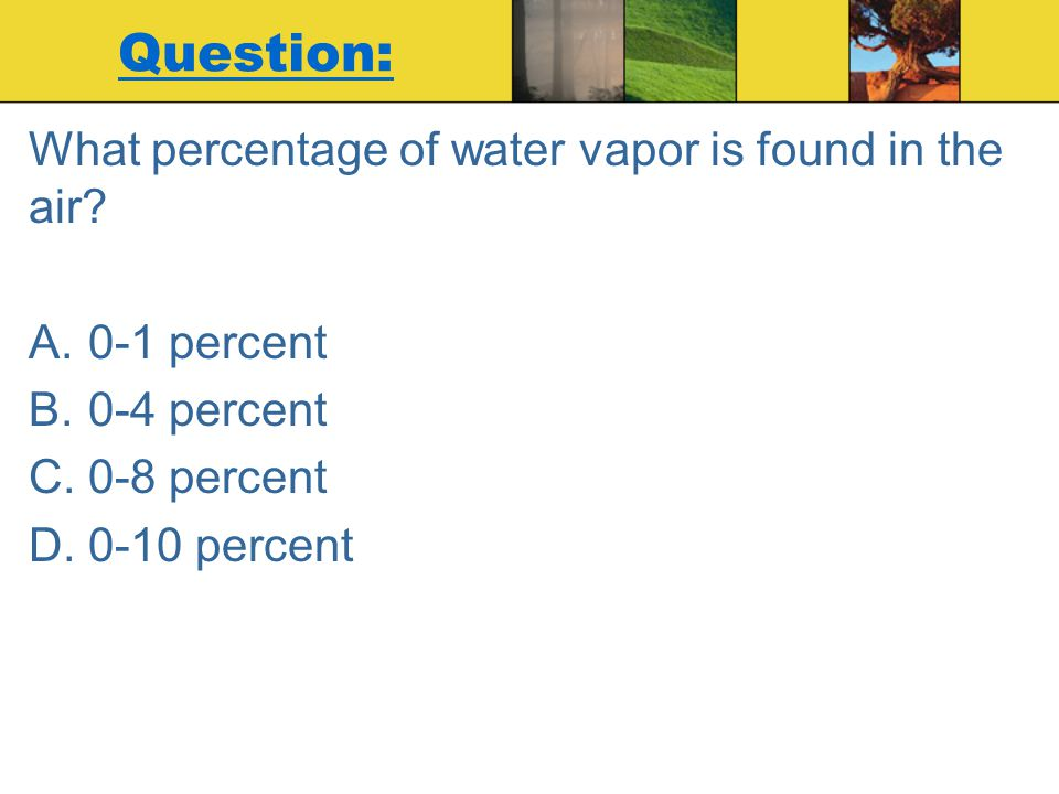 Question: What percentage of water vapor is found in the air
