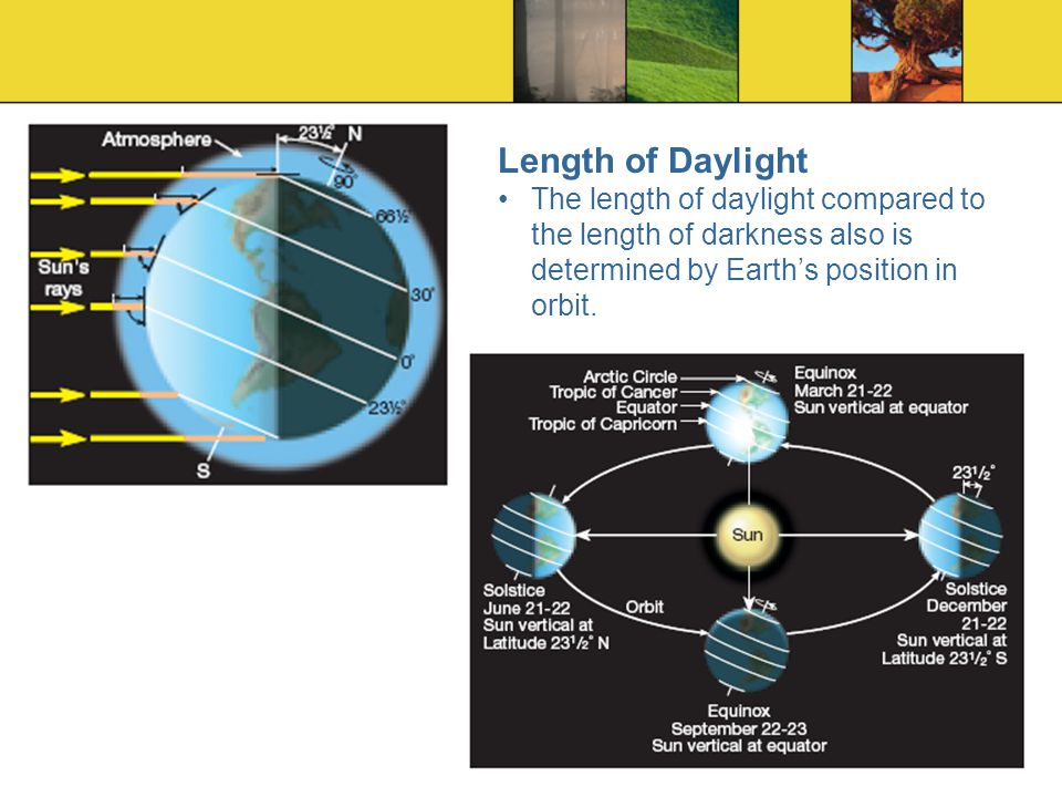 Length of Daylight The length of daylight compared to the length of darkness also is determined by Earth's position in orbit.