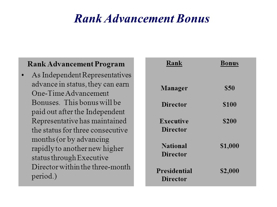 Rank Advancement Bonus Presidential Director
