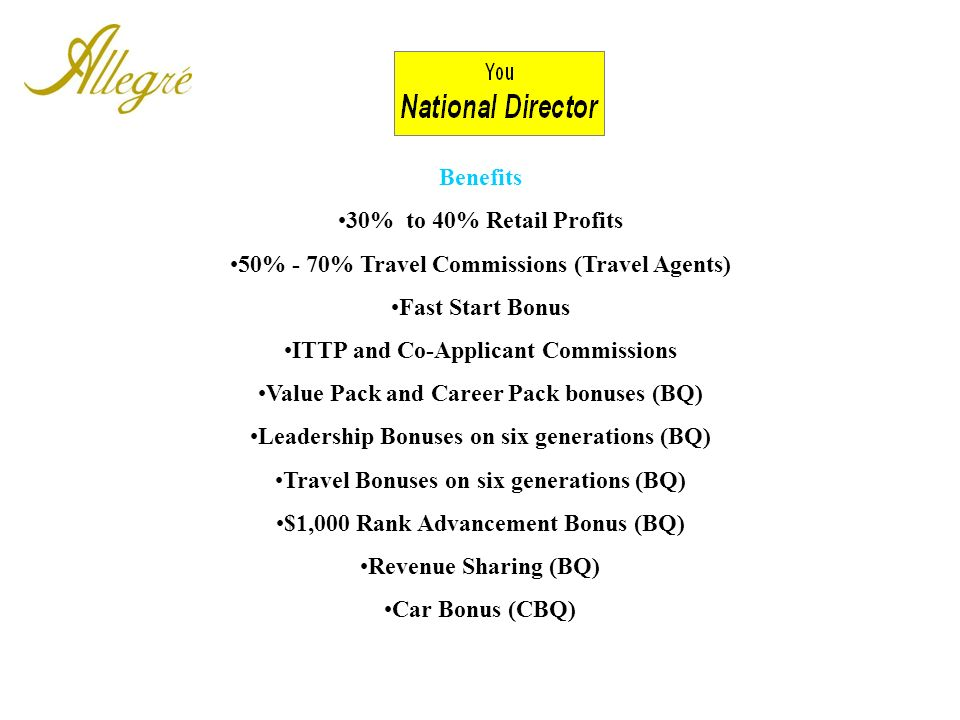 50% - 70% Travel Commissions (Travel Agents) Fast Start Bonus