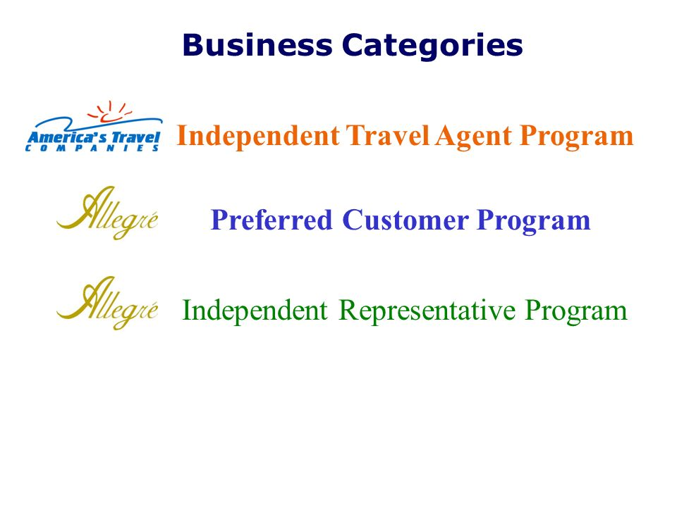 Business Categories Independent Travel Agent Program.