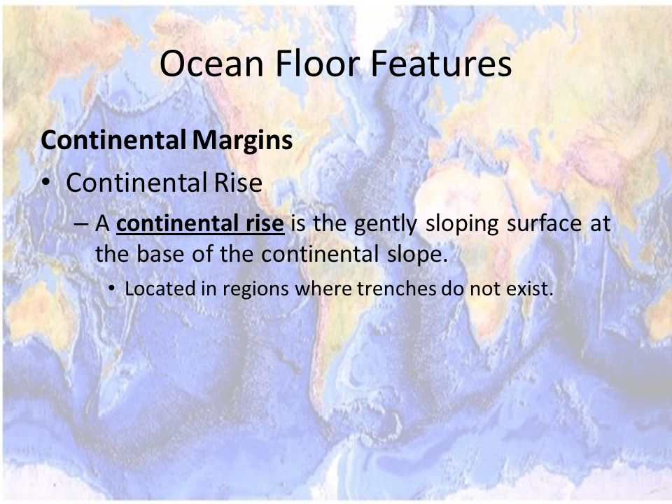 Ocean Floor Features Continental Margins Continental Rise