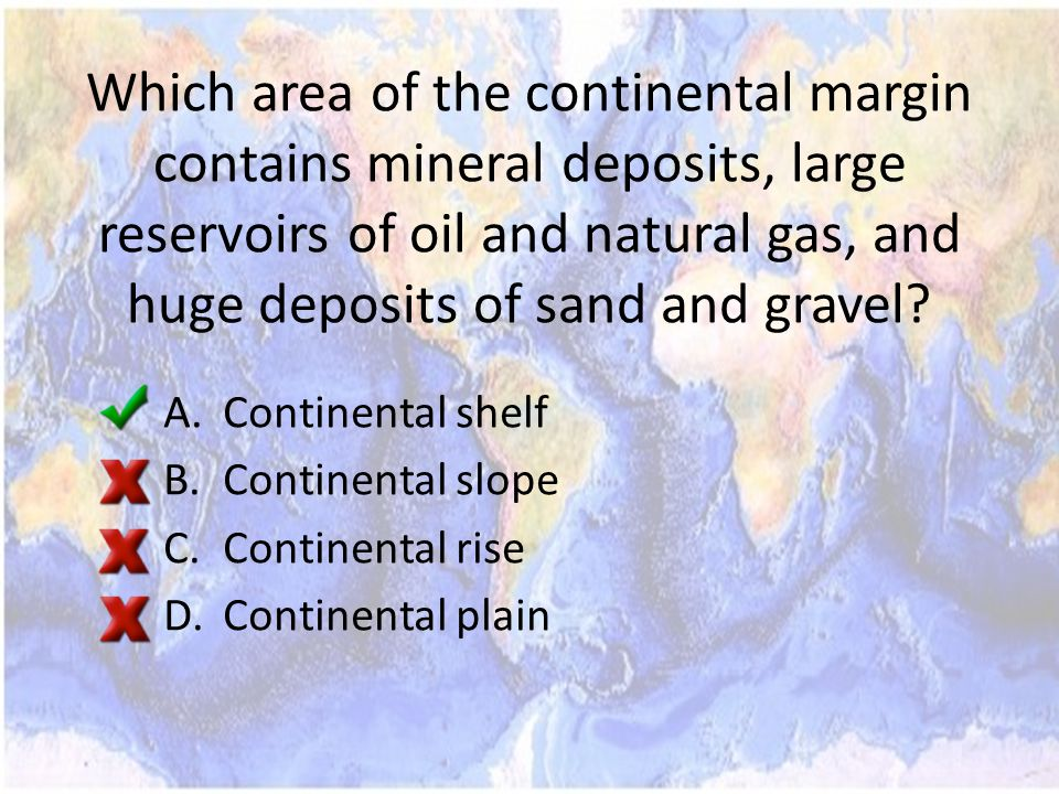 Which area of the continental margin contains mineral deposits, large reservoirs of oil and natural gas, and huge deposits of sand and gravel