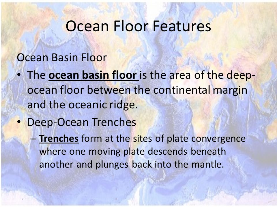 Ocean Floor Features Ocean Basin Floor