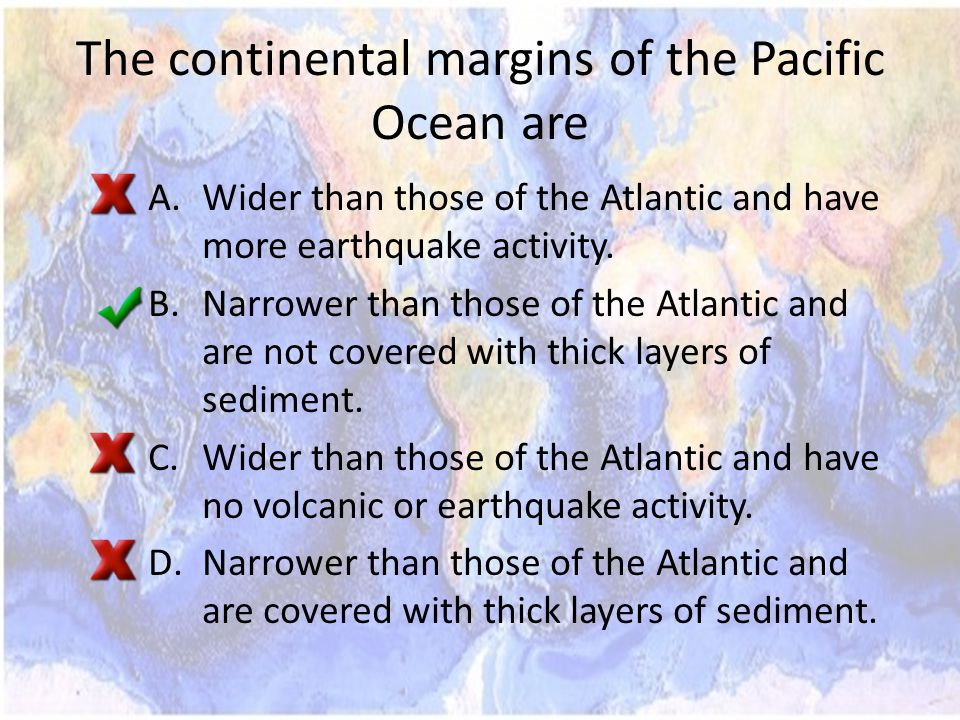 The continental margins of the Pacific Ocean are