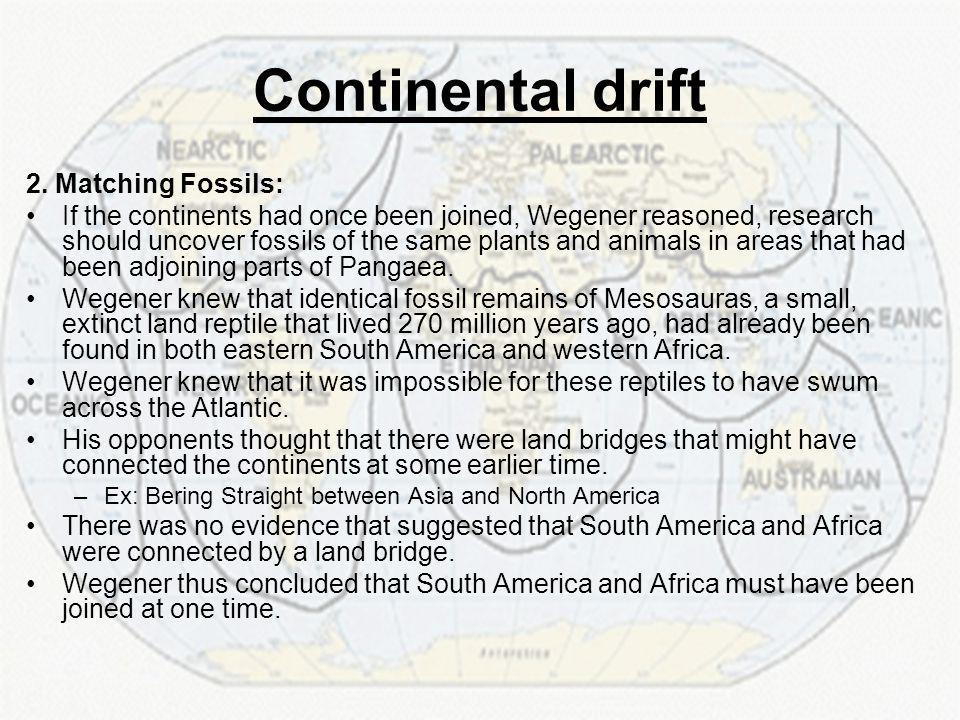 Continental drift 2. Matching Fossils: