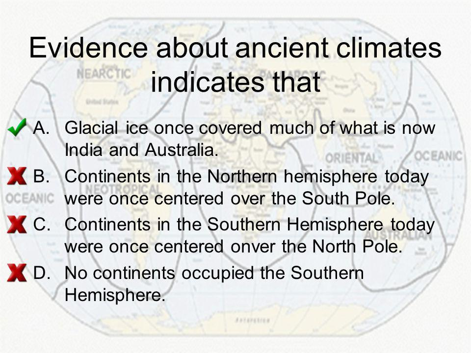 Evidence about ancient climates indicates that