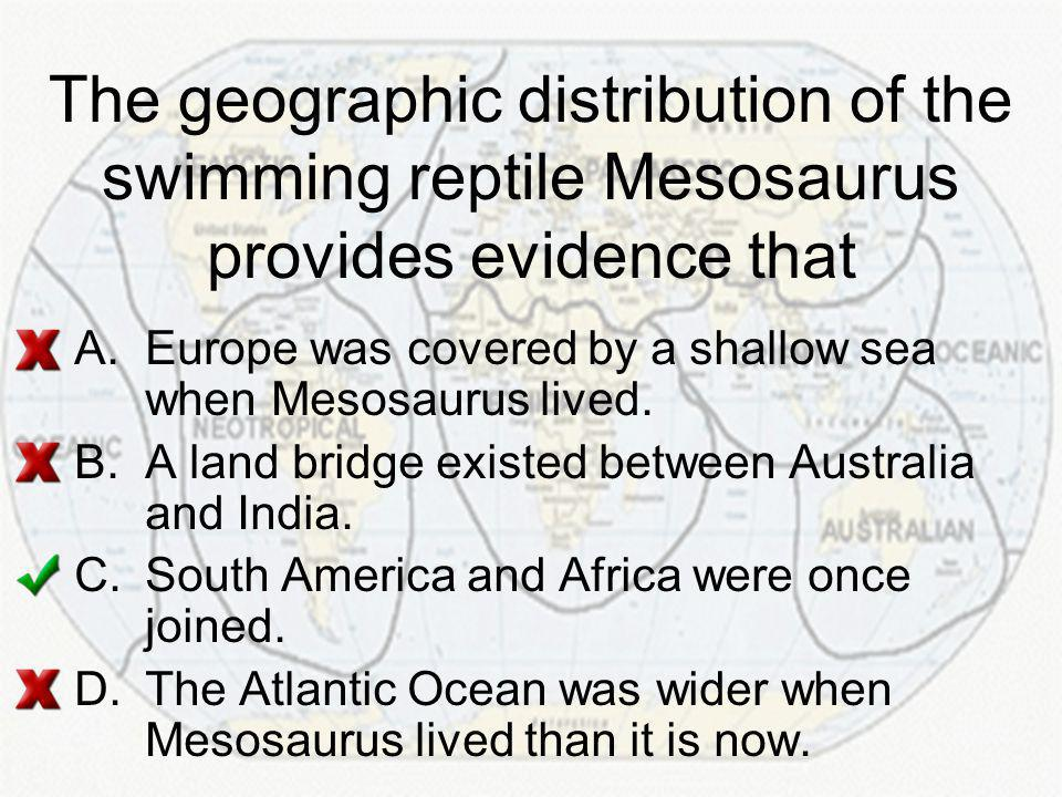 The geographic distribution of the swimming reptile Mesosaurus provides evidence that
