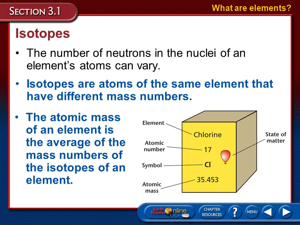 What are elements Isotopes. The number of neutrons in the nuclei of an element's atoms can vary.