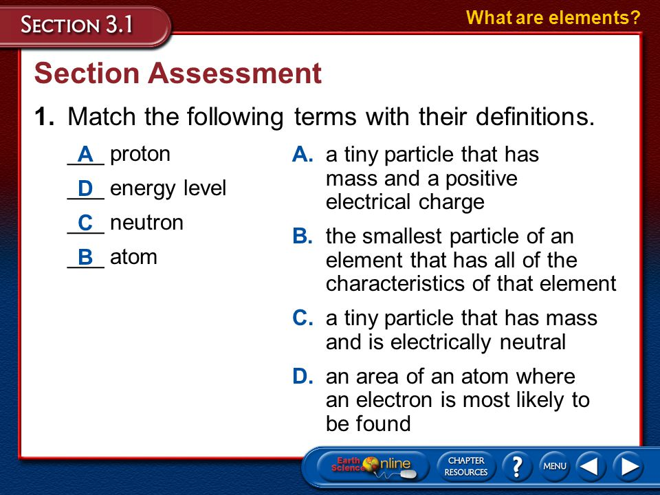 What are elements Section Assessment. 1. Match the following terms with their definitions. ___ proton.