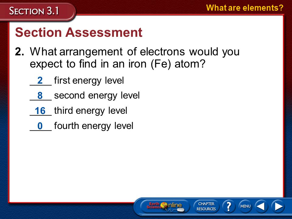 What are elements Section Assessment. 2. What arrangement of electrons would you expect to find in an iron (Fe) atom