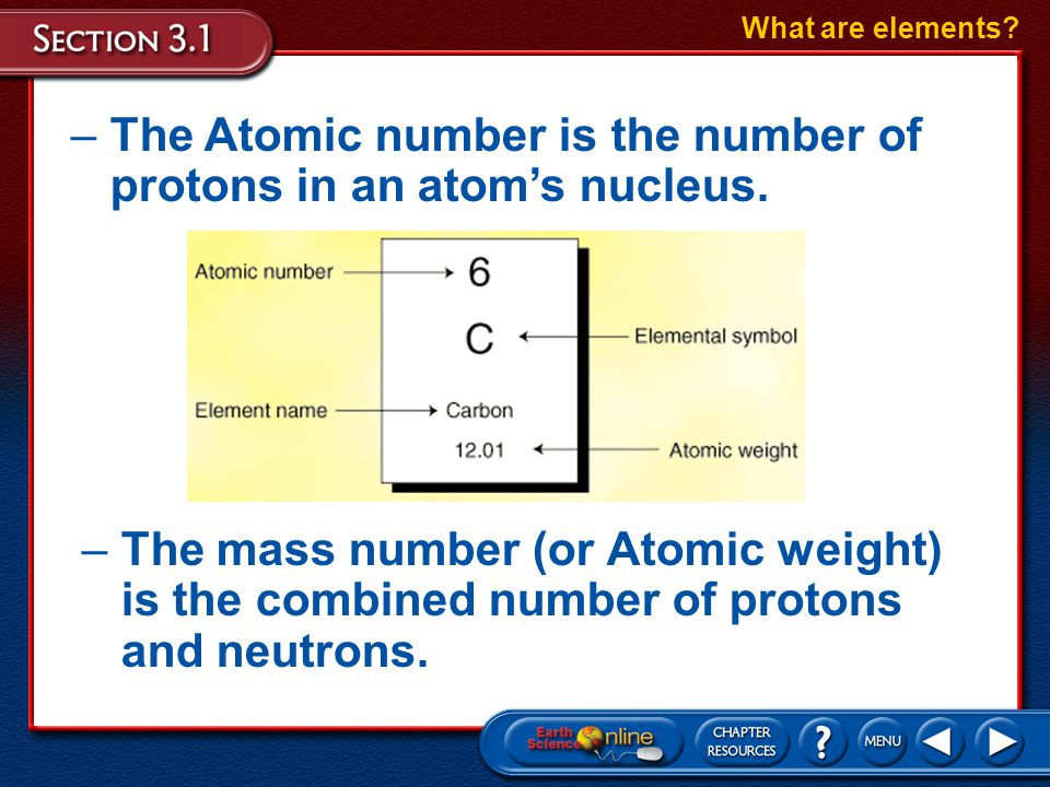 The Atomic number is the number of protons in an atom's nucleus.