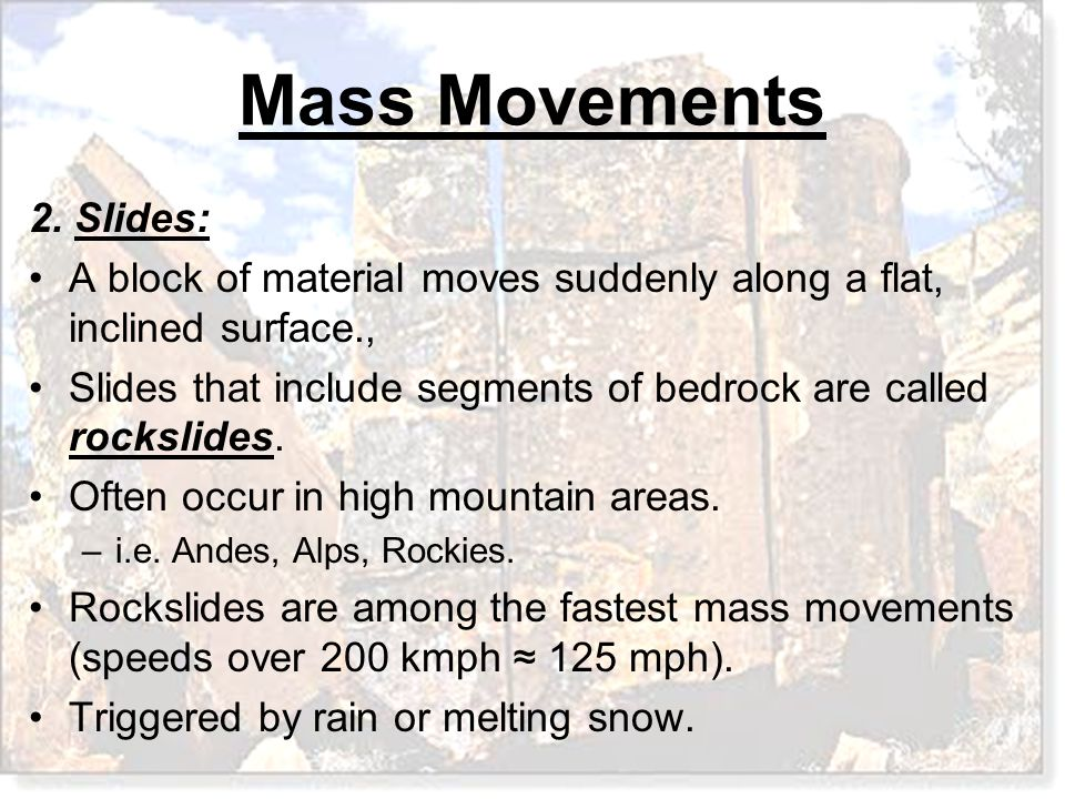 A block of material moves suddenly along a flat, inclined surface.,