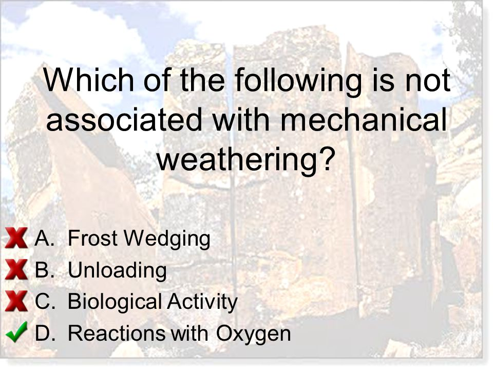 Which of the following is not associated with mechanical weathering