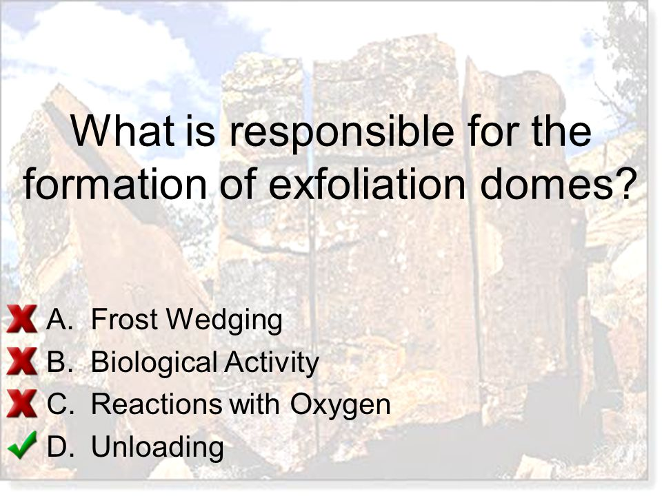 What is responsible for the formation of exfoliation domes